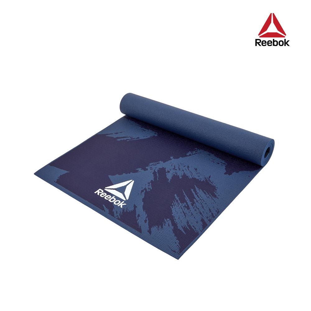 Reebok-防滑波紋瑜珈墊-4mm(筆刷藍)