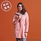 GIORDANO 女裝 softshell防風保暖收腰長版外套-花紗薄紗粉紅