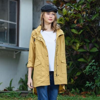 【KiKi】連帽抽繩休閒風衣外套-女長袖外套(三色/魅力商品/版型適中)