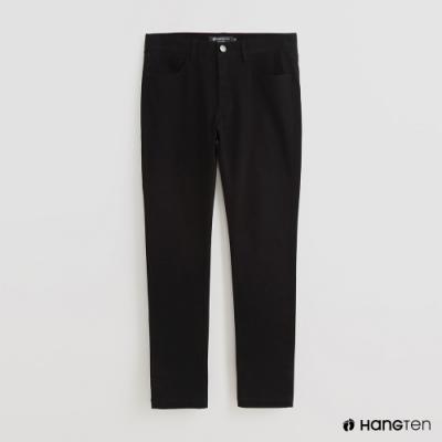 Hang Ten - 男裝 - 簡約素面修身休閒長褲 - 黑