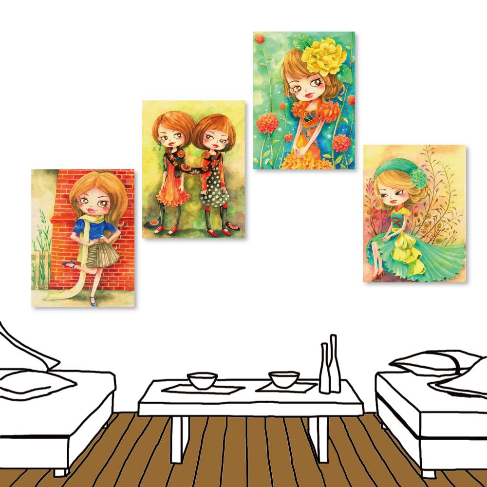 橙品油畫布 四聯式插畫風無框畫-女孩系列3 30x40cm