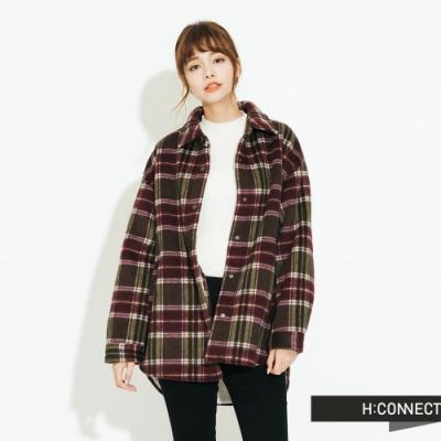 H:CONNECT 韓國品牌 女裝 - 內刷毛格紋夾克外套 - 酒紅