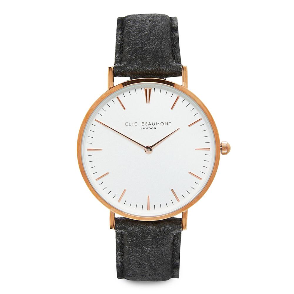Elie Beaumont 英國手錶 牛津系列 白錶盤x黑色環保皮革錶帶x玫瑰金框38mm