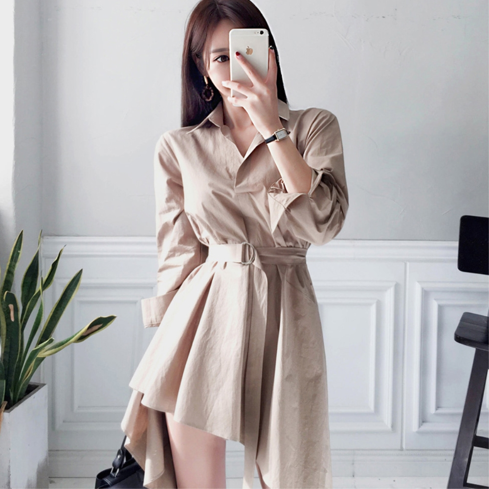 DABI 韓系時尚氣質襯衫收腰系帶不規則長袖洋裝