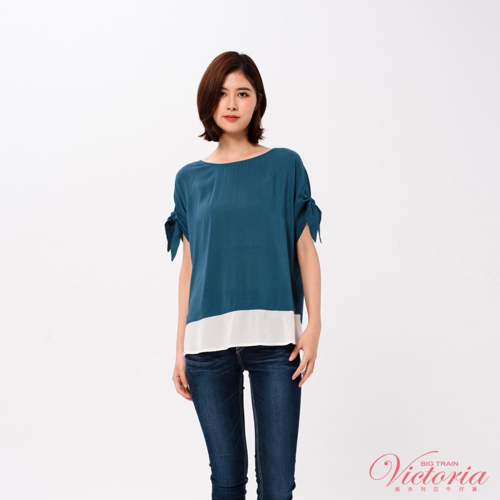 Victoria 袖口打結撞色剪接寬鬆短袖T-女-孔雀綠