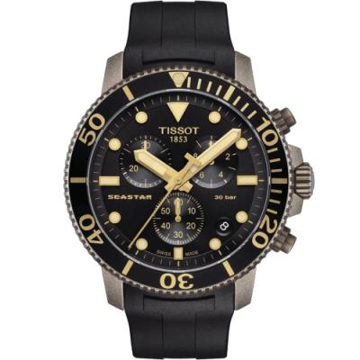 Tissot 天梭Seastar系列 海星300三眼計時潛水腕錶-45mm