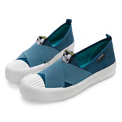 DISNEY 玩酷米奇 彈性交叉繃帶餅乾鞋-藍