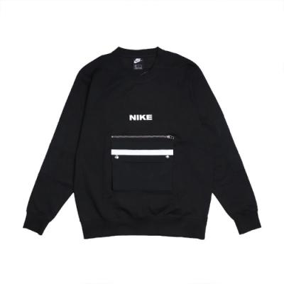 Nike T恤 City Made Fleece Crew 男 NSW 大口袋 工裝 拉鍊 穿搭 黑 白 DA0070010