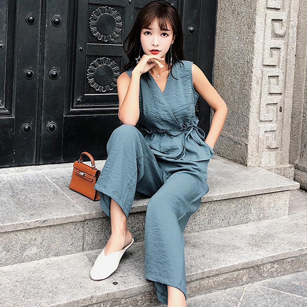 V領收腰背心+高腰闊腿褲兩件套 (藍色)-Kugi Girl