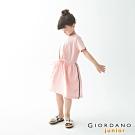 GIORDANO 童裝收腰綁帶造型連身裙-86 白/粉紅