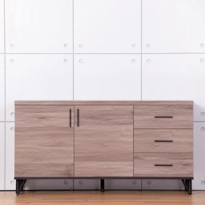 D&T德泰傢俱 BROOK淺胡桃木5尺餐櫃-150x40x79cm