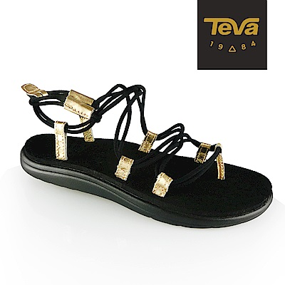 【TEVA】原廠貨 女 Voya Infinity Metallic 羅馬織帶涼鞋/雨鞋/水鞋(黑金-TV1097852BKGD)