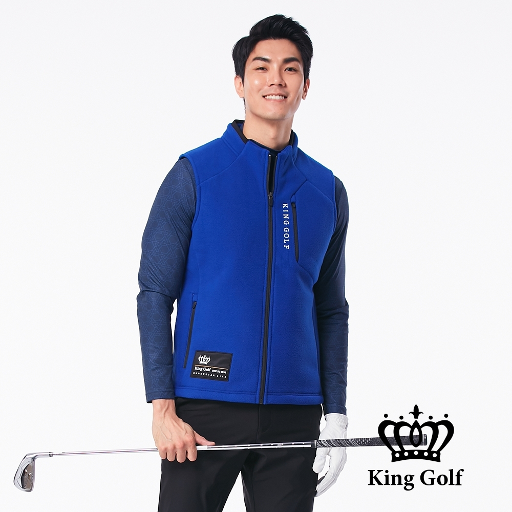 【KING GOLF】LOGO印圖保暖搖粒絨刷毛剪裁無袖背心-藍色