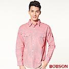 BOBSON 男款刷毛條紋長袖襯衫(紅13)
