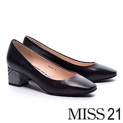 跟鞋 MISS 21 復古淑女純色方頭高跟鞋-黑