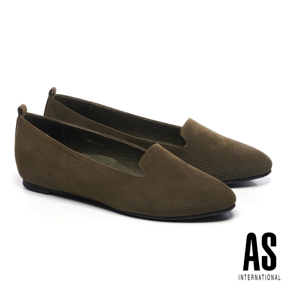 低跟鞋 AS 細緻壓紋羊皮內增高樂福低跟鞋-綠