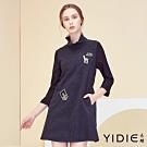 【YIDIE衣蝶】俏皮鑽飾草尼馬圖型短洋裝