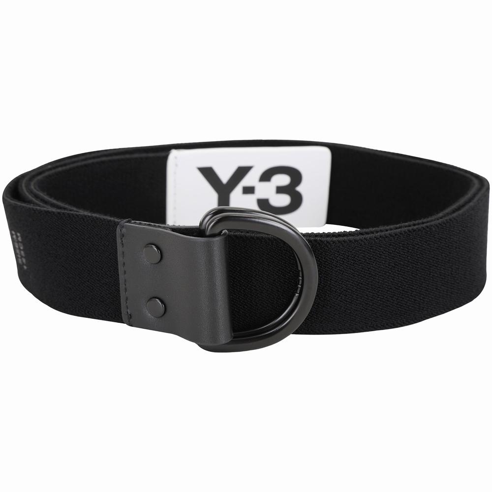 Y-3 ELASTIC D型環釦撞色字母標彈性腰帶(黑色)