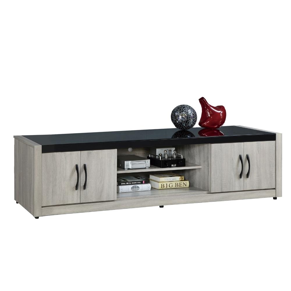 【AT HOME】簡約現代7尺鋼刷淺灰色電視櫃/長櫃/客廳櫃(清心)
