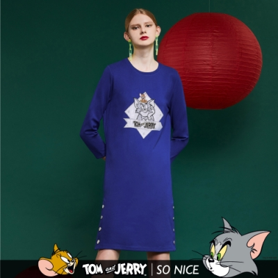 SO NICE│Tom&Jerry 亮銀貼布繡羅馬布洋裝