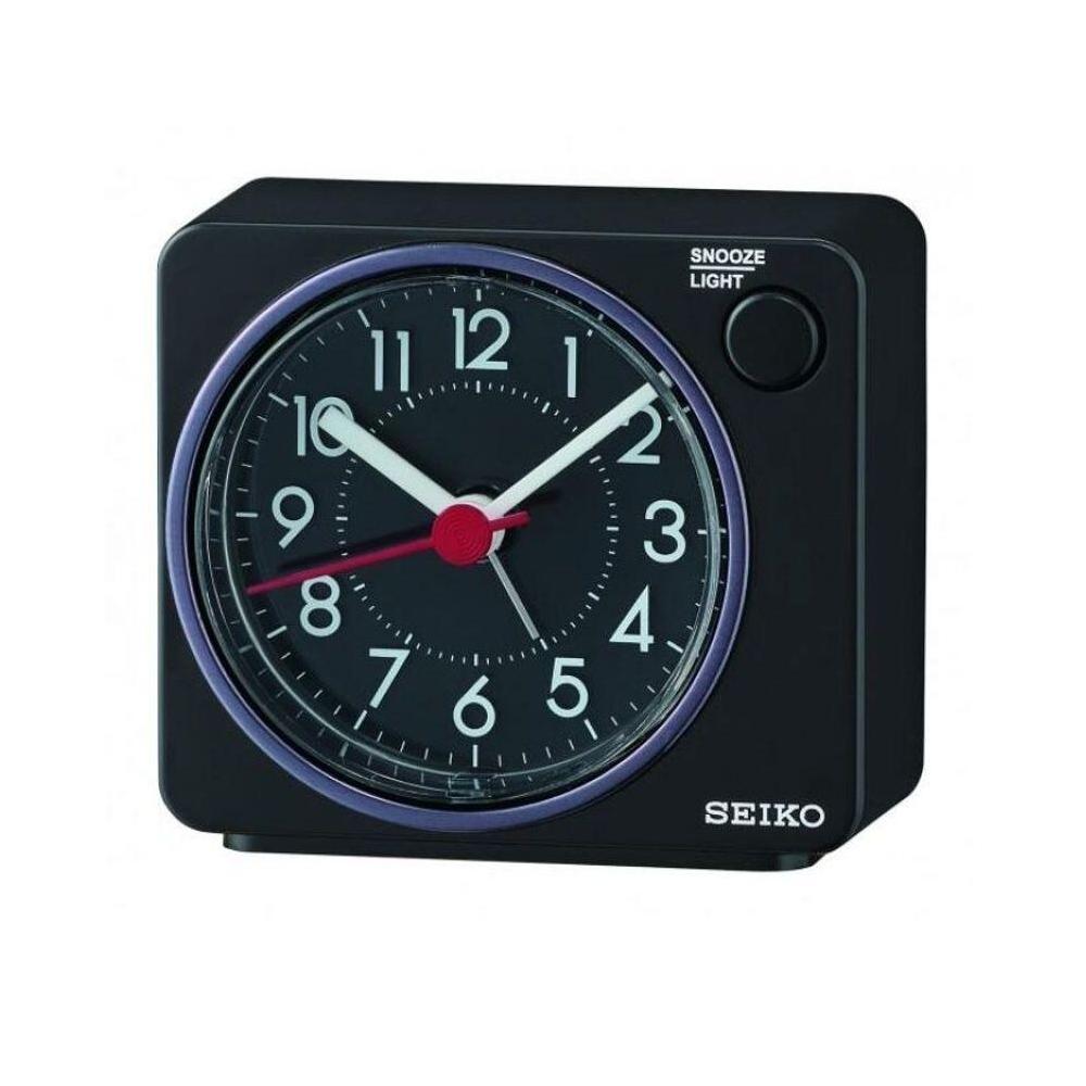 SEIKO 靜音小鬧鐘 滑動式秒針(QHE100K)-黑/6.4X7.4cm