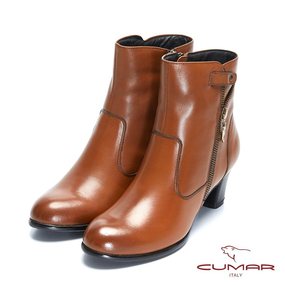 【CUMAR】率性柔美 - 拉鍊拼接裝飾粗跟短靴