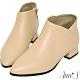 Ann'S無負擔-真皮小羊皮側V口尖頭平底短靴-杏(版型偏小) product thumbnail 1