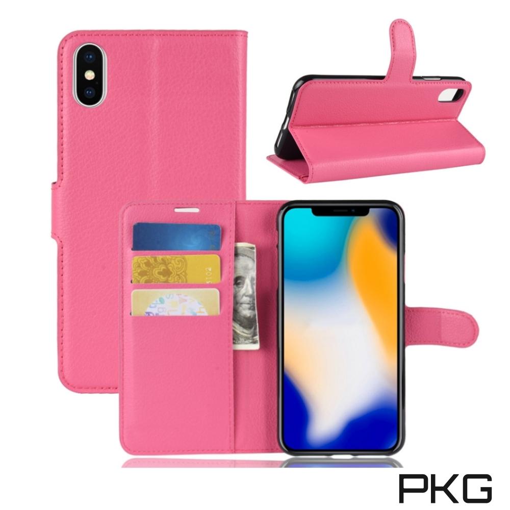 PKG Apple IPhone XS MAX 側翻式皮套-經典皮套系列-玫紅 @ Y!購物