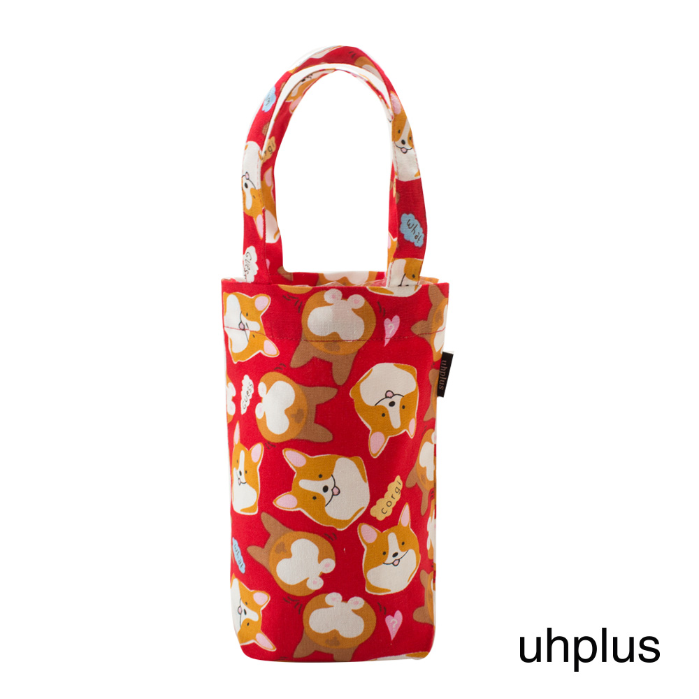 uhplus 隨行環保飲料袋(長版)- 萌柯基(紅)