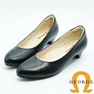 GEORGE 喬治皮鞋 OL系列 全真皮黑色素面3CM跟鞋