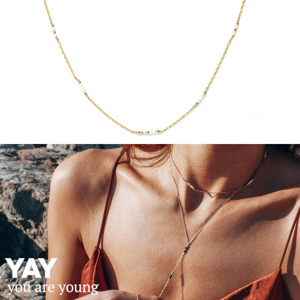 YAY You Are Young 法國品牌 Riviera 白色珍珠項鍊 金色頸鍊