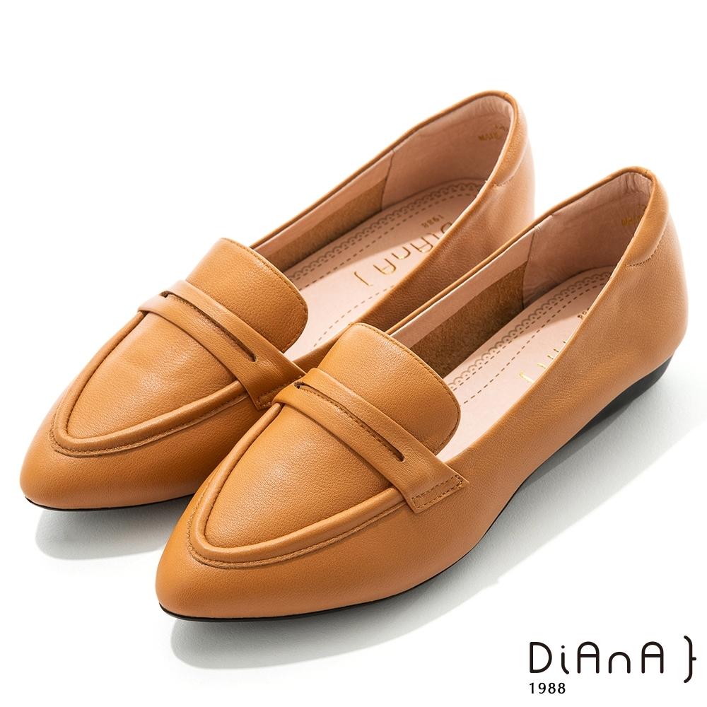 DIANA 2.5cm質感牛皮極簡尖頭低跟便士樂福鞋-漫步雲端焦糖美人-棕