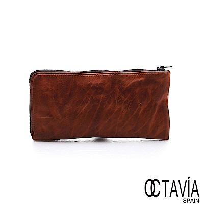 OCTAVIA 8 真皮 - 風化牛皮系列 追雲的風 L型拉鍊長夾 - 風沙棕