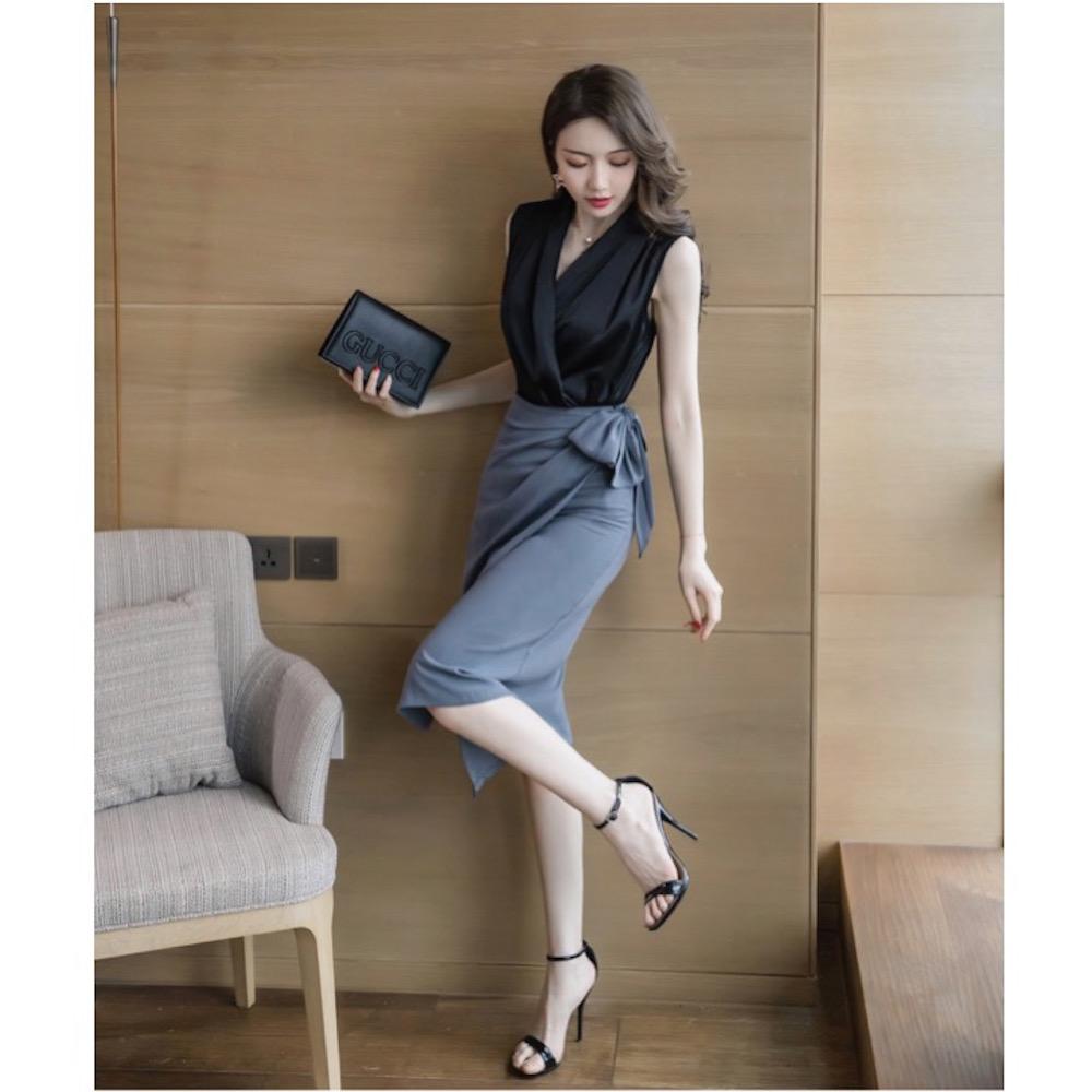 IMStyle 名媛無袖襯衫+不規則窄裙套裝(黑色)