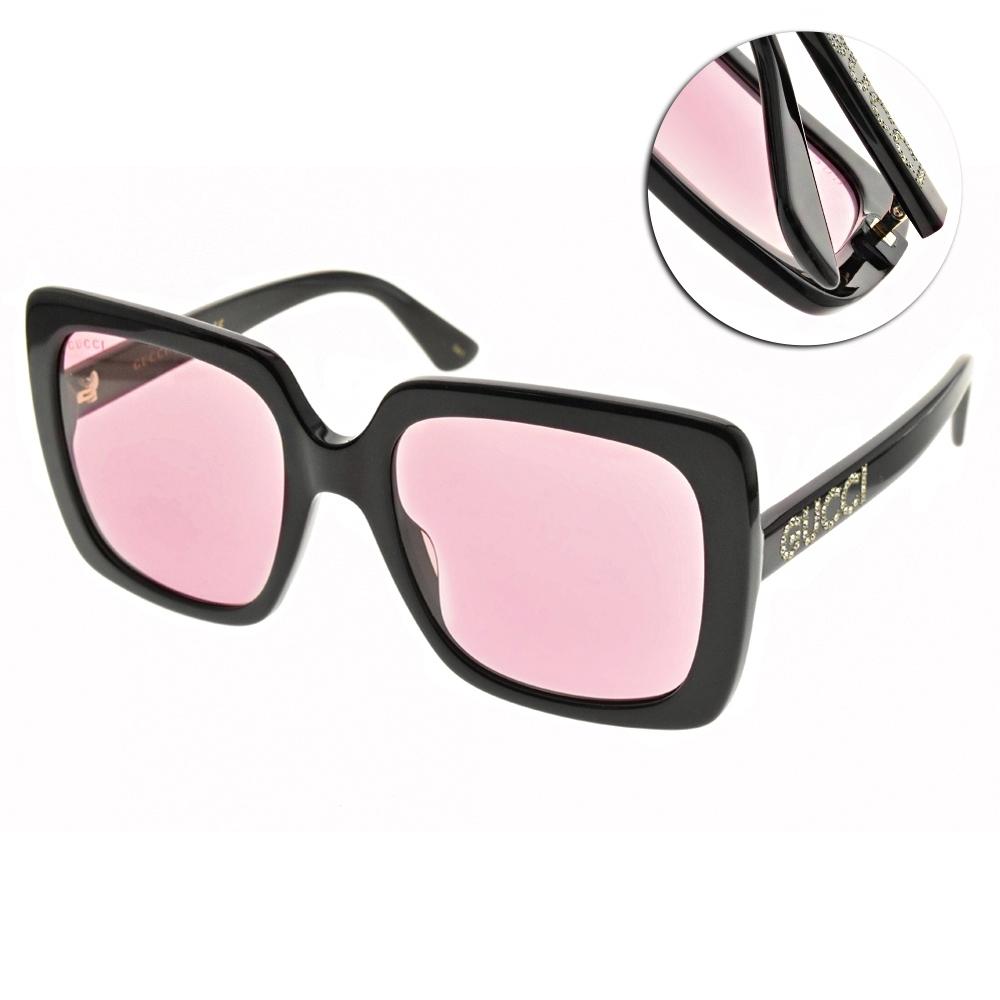 GUCCI 太陽眼鏡 大方框款/黑-桃粉鏡片 #GG0418S 002