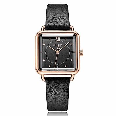 JULIUS聚利時 羅馬紀事方形皮革錶帶腕錶-氣質黑26mm