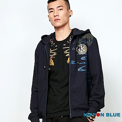 日本藍 BLUE WAY  五輪系列-黃金錦鯉精繡連帽外套(藍)