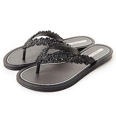 Grendha 立體花紋人字帶夾腳鞋-黑色