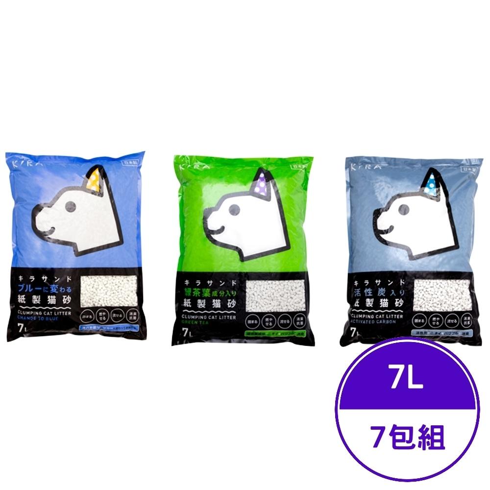 日本KIRA大和-(變色/綠茶/活性碳)紙砂 7L/1.8KG (7包組)