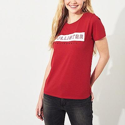 海鷗 Hollister 經典印刷文字短袖T恤(女)-紅色