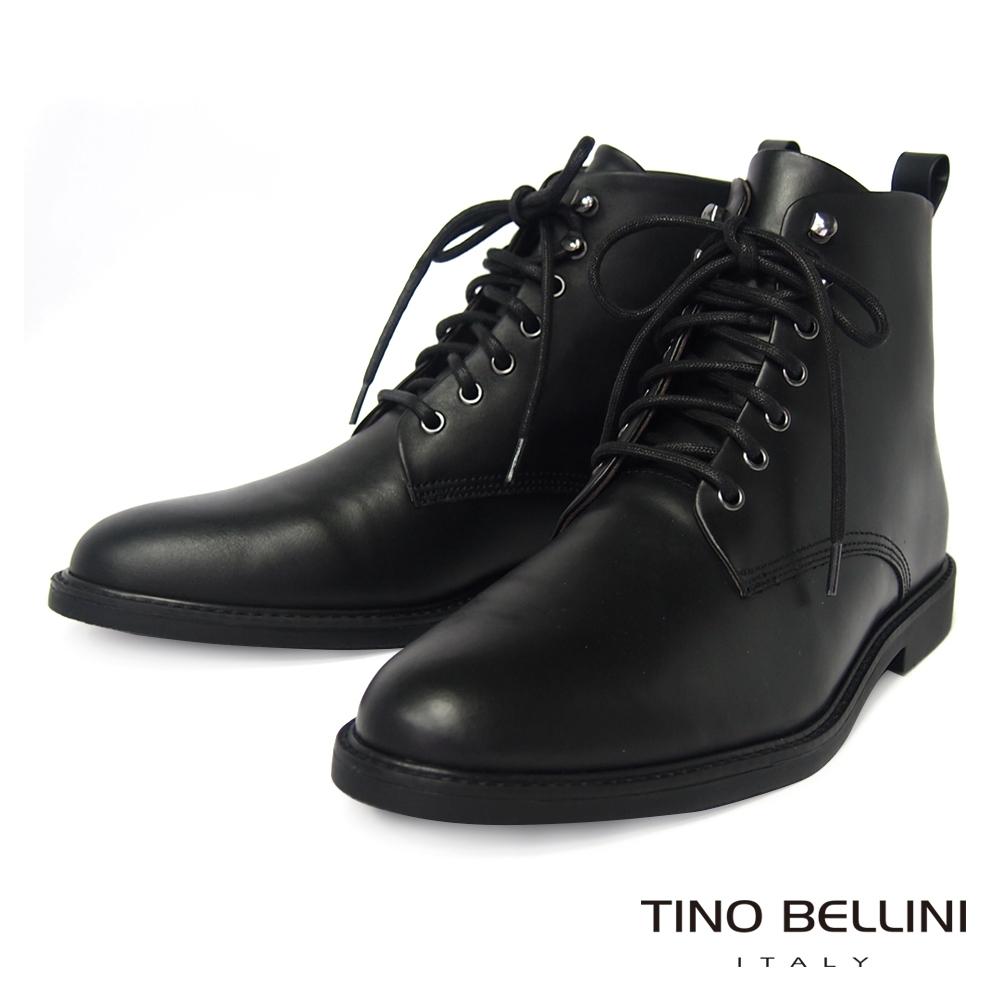 TINO BELLINI 男款牛皮極簡個性綁帶短筒軍靴