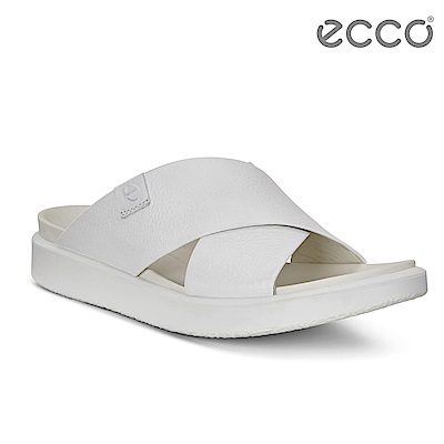 ECCO FLOWT LX W 輕柔交叉寬帶涼拖鞋 女-白