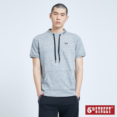 5th STREET 休閒抽繩口袋 短袖T恤-男-銀灰色