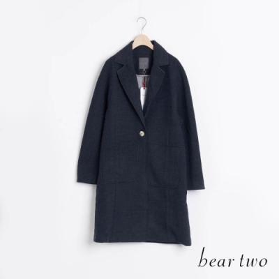bear two- 經典西裝領單釦大衣 - 藍
