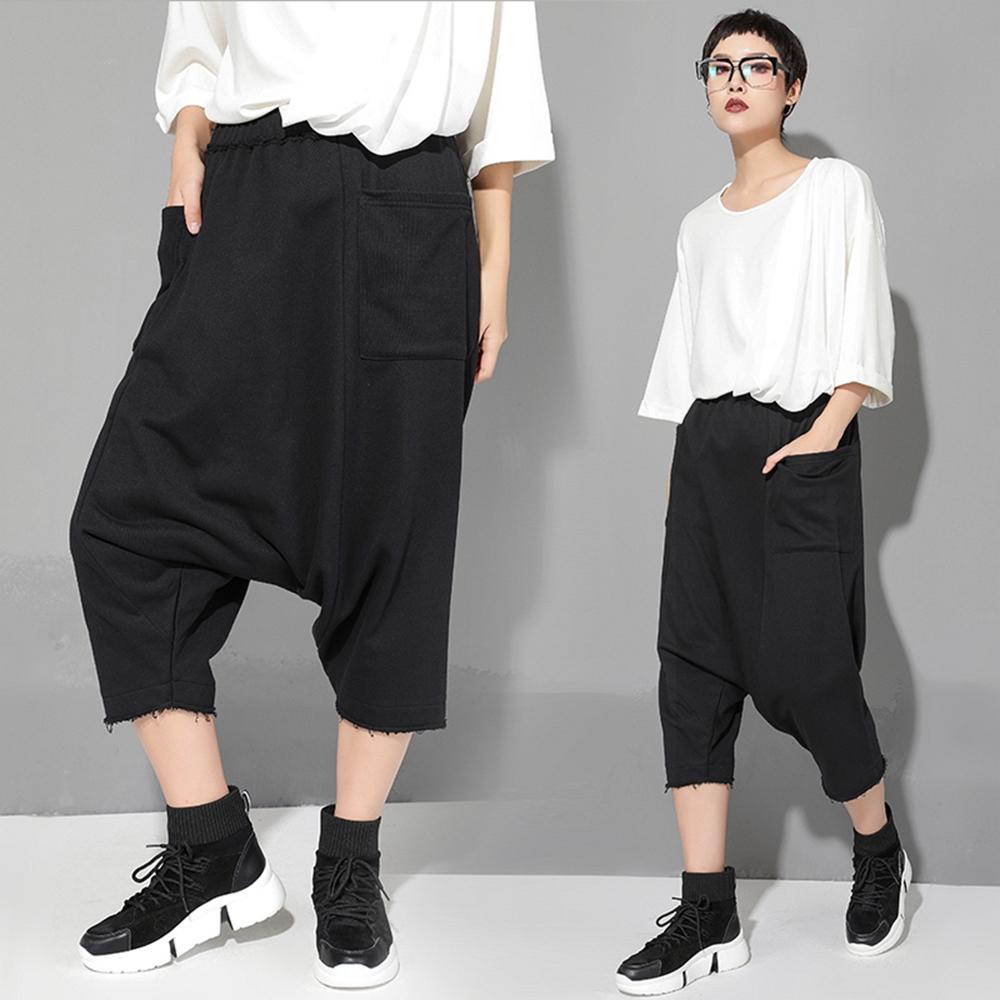 韓版大口袋毛邊七分哈倫褲M-XL-CLORI