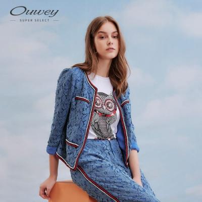 OUWEY歐薇 小香風繩股蕾絲小外套(藍)