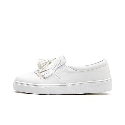 【AIRKOREA韓國空運】質感流蘇皮革材質樂福鞋休閒鞋-白