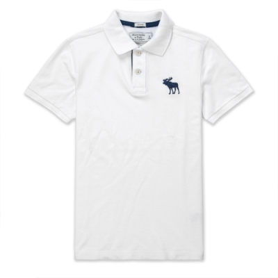 A&F 麋鹿 經典標誌刺繡大麋鹿 短袖POLO衫-白色