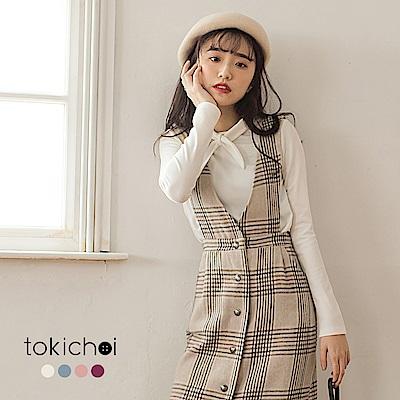 東京著衣 甜氛學院前綁結多色長袖上衣-S.M(共四色)