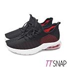 TTSNAP運動鞋-飛織彈性透氣輕量氣墊鞋 黑
